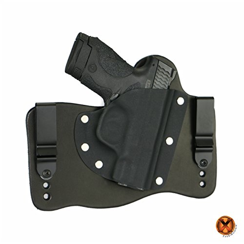 FoxX Holsters Compatible for Smith & Wesson M&P Shield M2.0 9/40 with Integrated Laser IWB Hybrid Holster Tuckable, Concealed Carry Gun Holster (Black, Right Hand)