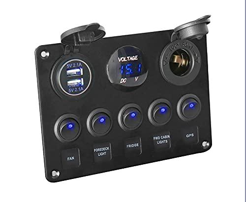 LESANGBAIHUODIAN Voltímetro Digital Impermeable Doble USB Puerto USB 12V Combinación de Salida de automóvil Marinos LED LED Interruptor de Interruptor (Color : Blue)