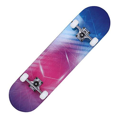 Tabla de skate de 31 pulgadas Tabla de skate de doble patada Longboard completa Cubierta de arce de 8 capas Cubierta para deportes extremos y actividades al aire libre para adolescentes Adultos
