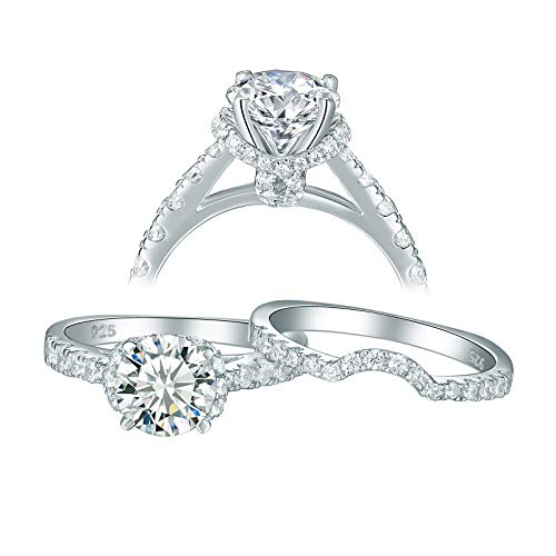 Newshe Jewellery Cz Wedding Rings for Women Engagement Bridal Set Sterling Silver 2ct Princess Size 6