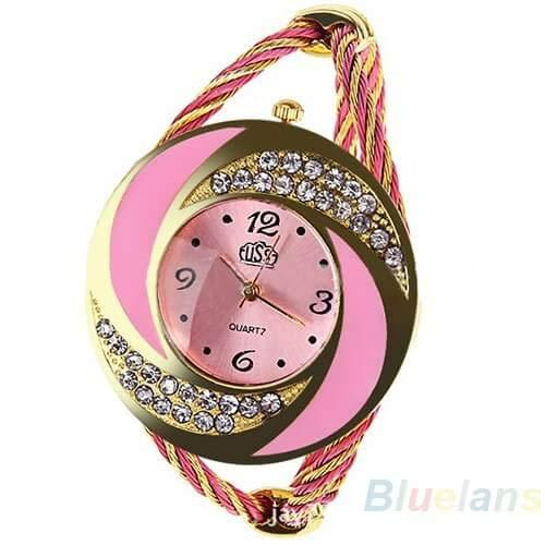 Relógio Pulseira Bracelete Feminino Social (Rosa)