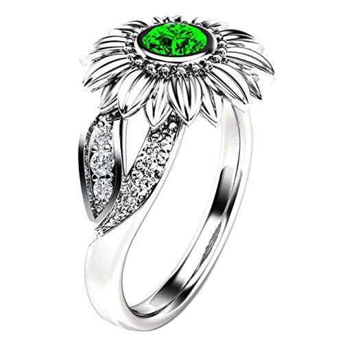 Anillo de dedo Benoon, anillo de dedo con incrustaciones de girasol con incrustaciones de diamantes de imitación para mujer, regalo de joyería de boda y fiesta - plata + verde US 7