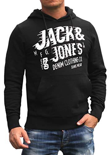 Jack and Jones Herren Hooded Kapuzen Sweatshirt Langarm Shirt Rundhals mit Druck (Black/Slim, XL)