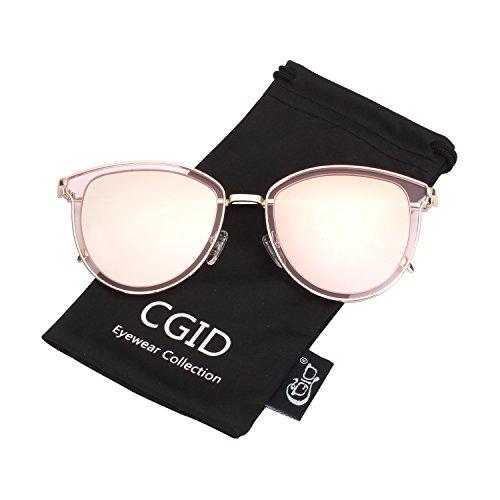 CGID CGID MJ85 Übergröße Retro Polarisierte Sonnenbrille Doppelte Kreis Spiegel UV400 Objektiv Metall Rahmen
