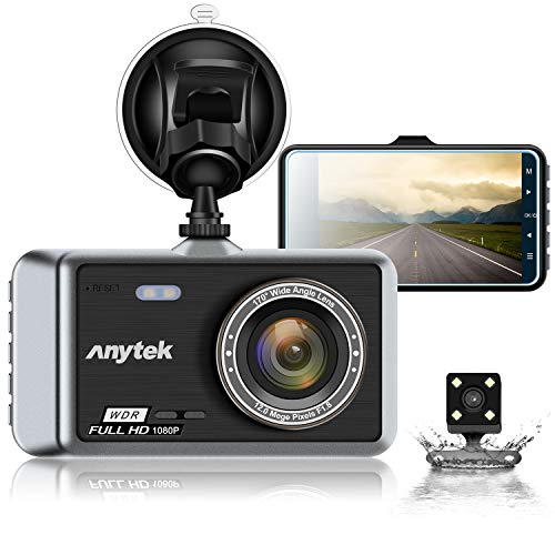 Anytek Cámara de Coche, Dash CAM 4″ Visión Nocturna Full HD 1080P, 170° Gran Ángulo Cámara de…