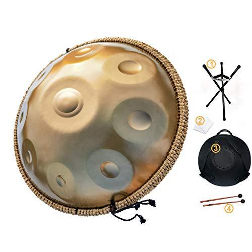AS TEMAN Handpan-Instrument, 9 Noten, 55,9 cm, Stahl-Handtrommel mit weicher Handpan-Tasche, 2 Handpan-Schlägel, Handpan-Ständer, staubfreies Tuch, gold