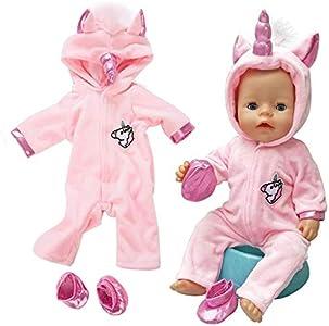 Amycute 43 cm la Ropa de la Muñeca del Traje del Unicornio con los Zapatos para Las Muñecas del Bebé Recién Nacido Girl Doll del Bebé(Rosa) (Rosa)
