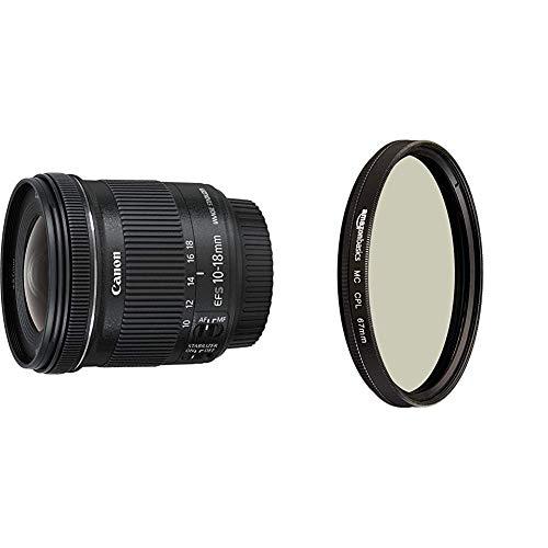 Canon EF-S 10-18mm 1:4.5-5.6 is STM Objektiv schwarz & AmazonBasics Zirkularer Polarisationsfilter - 67mm