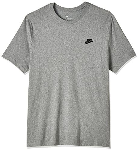 NIKE M NSW Club tee T-Shirt, Hombre, Dk Grey Heather/Black,...