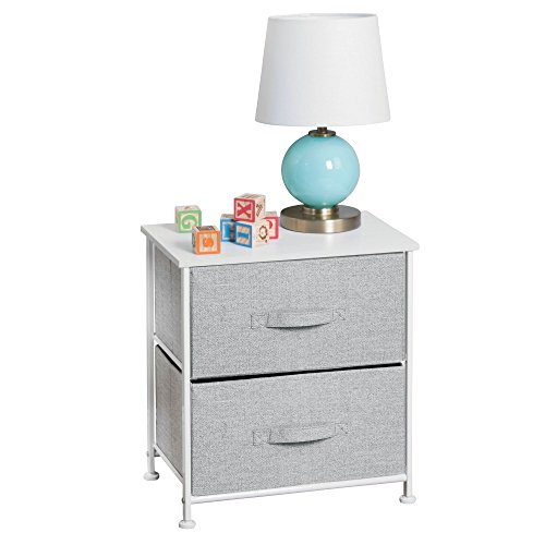 mDesign Short Vertical Dresser Storage Tower - Sturdy Steel Frame, Wood Top, Easy Pull Fabric Bins - Organizer Unit for Child/Kids Bedroom or Nursery - Textured Print - 2 Drawers - Gray/White