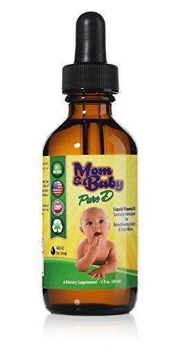 Mom & Baby Pure Vitamin-D – Das beste natürliche flüssige Vitamin D Nahrungsergänzungsmittel – Perfekte Formel zum Stillen von Säuglingen und für schwangere Frauen - 400IU Vitamin-D3 pro Tropfen – Beste Absorbierung für die GESAMTE Familie - 60ml Fläschchen – Mehr als 2000 Tagesrationen