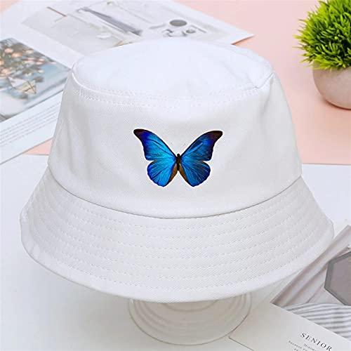 H/A GUOHUU Mariposa Panamá Bob Bob Bucket Hats Summer Mens Mujeres Pescador Sun Shade Sombrero Algodón Coreano Caps Black Caps Al Aire Libre Protector Solar Cap Gorras GUOHUU
