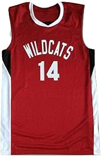 Zac E Troy Bolton 14 East High School Wildcats Red Basketball Jersey (34)