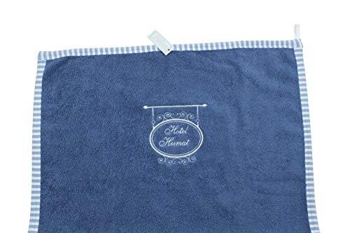 Handtuch Bad Gäste Hand-Tuch Blau Weiße Stickerei Hotel Heimat 100 x 50 cm Frottee Fairtrade Ringelsuse