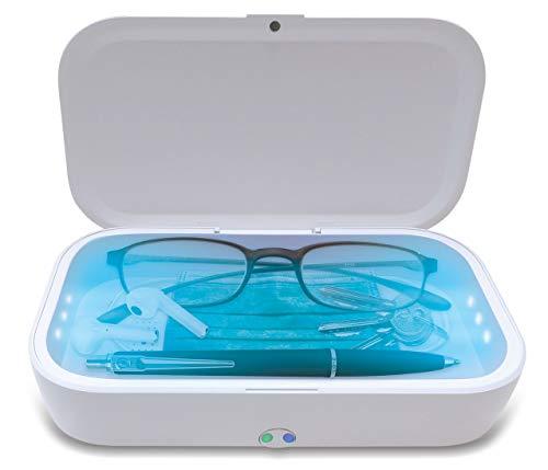 Caja Esterilizador UV, UV-C + Ozone 99.99% esterilización con cargador inalámbrico Qi de 10 vatios y función de aromaterapia, también apto para joyería / relojes / máscara