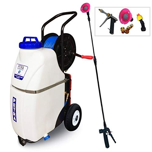 PetraTools Battery Powered 12 Gallon Cart Sprayer - Beast, Heavy Duty Commercial Sprayer w/Custom Built Cart, Offroad Wheels & Solid Steel Easy-Turn Hose Reel for 100 Foot Hose, Multipurpose HD Wand
