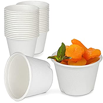 [100 Pack] 4 Oz White Compostable Disposable Cup - 100% Biodegradable Bagasse Sugarcane Paper and Plastic Cup Alternative Eco Friendly Hot or Cold Food and Condiments Containers Microwave Safe