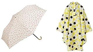 【セット買い】ワールドパーティー(Wpc.) 雨傘 折りたたみ傘  ピンク  50cm  レディース 傘袋付き フラッフィーハート ミニ 963-017 PK+レインコート ポンチョ レインウェア ムーン FREE レディース 収納袋付き R-1093