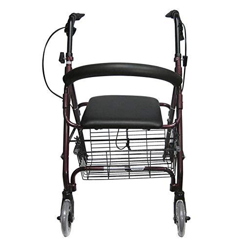 NSWDC Multifunktionaler Einkaufswagen des Alten Mannes, Leichtgewichtler 4 Rad-Rad-Rollator-Wanderer/Laufkatzen des Alten Mannes, Leesure-faltender Einkaufswagen kann sitzen, Elter