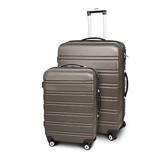 BERWIN® Kofferset L + XL 2-teilig Reisekoffer Trolley Hartschalenkoffer ABS Teleskopgriff Modell Line (Braun)