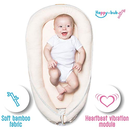 Bamboo Super Soft Baby Newborn Lounger Pillow Bed: Happy-bub Portable Cosleeping Nest for Infant. Breathable Great for Tummy time and Playing - Beige