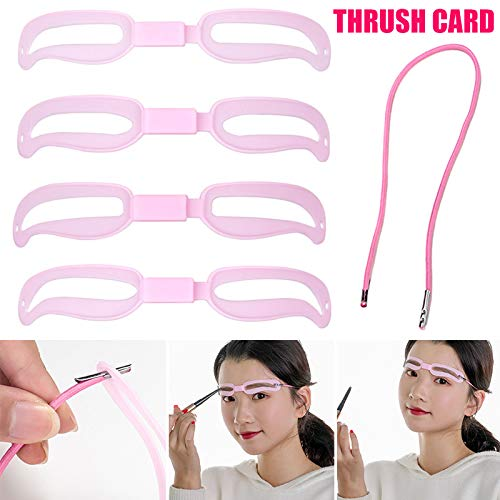 MJYT Eyebrow Stencil Beginners 4PCS Eyebrow Shaper Kit Elastic Fixed Strap Reusable Eyebrow Template with Strap 3 Minutes Makeup Tools for Eyebrows New