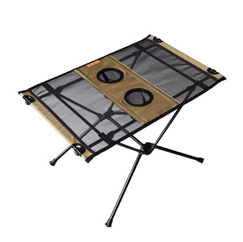 [わずか700gのキャンプテーブル] rabbit-foot outdoors コンパクト アウトドア テーブル 折りたたみ式 [日本メーカー 使用後の不具合にも対応] 保証書 収納付き (カーキ)