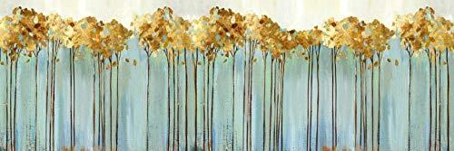 Abstrakte goldene Bäume Wand Bilder Aquarell Gemälde Leinwand Bild Türkis Poster und Kunstdrucke Modernes Wohnzimmer Wanddekor Bilder 40x120 Ungerahmt