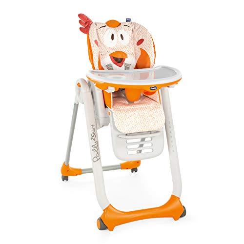 Chicco Polly2Start Trona y Hamaca para Bebés 0 Meses - 3 Años (15 kg), Trona Ajustable, Transformable y Compacta con 4 Ruedas, Respaldo Reclinable - Naranja (Fancy Chicken)