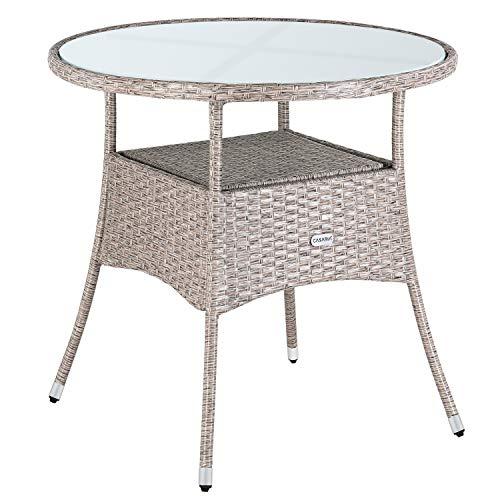 Casaria Poly Rattan Balkontisch Ø 80 x 74 cm Milchglas Rund Gartentisch Beistelltisch Tisch Gartenmöbel Grau Beige