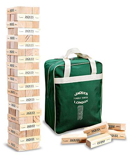 Giant Tumble Tower - Jaques de Londres - Incluye bolsa de lona. Grandes juegos de jardín para adultos y juguetes para niños. Juguetes de madera de Tumble Tower de mayor y menor tamaño disponibles.