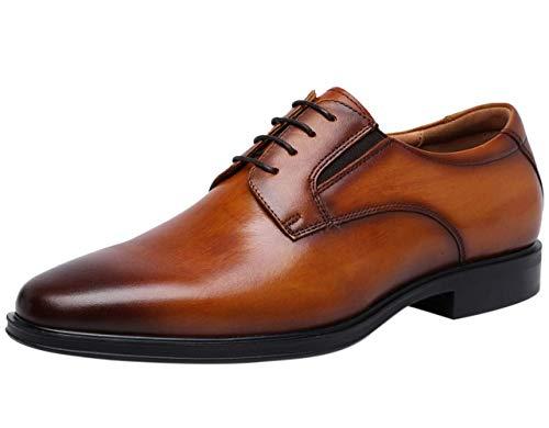 Hombre Plain Derby Cuero Zapatos de Cordones Negocio Oxford Boda Zapato de Vestir Plano Marrón 46 EU