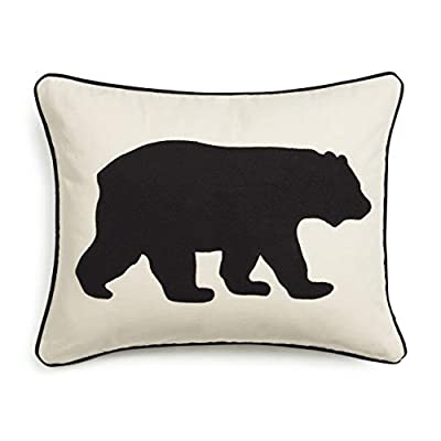 "Eddie Bauer | Home Collection | 100% Cotton Twill Signature Bear Design Decorative Pillow, Zipper Closure, Easy Care Machine Washable, 16"" x 20"", Black"