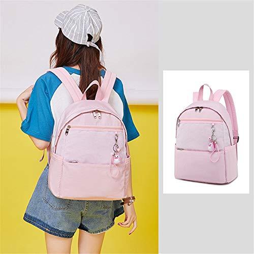 Women's Backpack School Backpack,Nylon Waterproof School Bag Student Book Bag For 16inch Laptop Backpack Rucksack Daypack For Boys Girls Teen (Color : Pink, Size : 28x12x38cm)