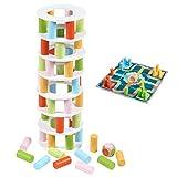 Jacootoys Juego de Apilamiento en Madera Pisa Torre Bloques Construcción 2 en 1 Juguetes Montessori Familiar Juegos para Niños y Adultos