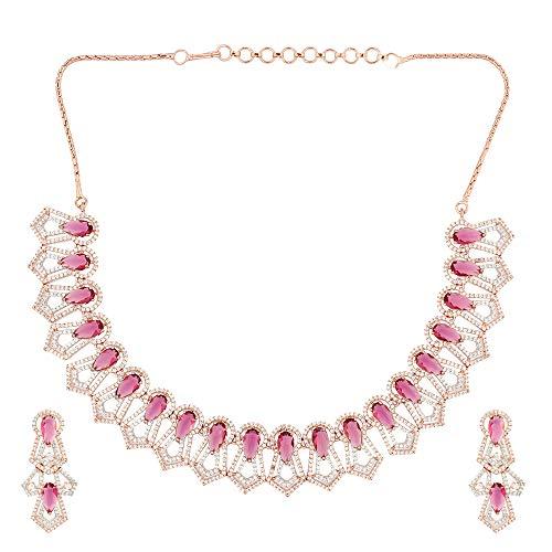 Soni ZAPPHIRE - Parure composta da Collana e Orecchini, con Diamanti Indiani Americani e Rubino Rosso semiprezioso incastonato in Oro Rosa Lucido con Orecchini per Ragazze e Donne