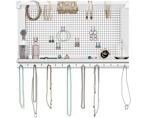 Comfify rustikaler Schmuckorganisator - Wandschmuckhalter mit abnehmbarem Armbandstiel, Ablage und 16 Haken - Perfekte Ohrringe, Halsketten und Armbandhalter - Vintage-Schmuckdisplay - weiß