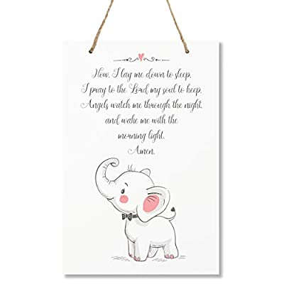 "LifeSong Milestones Elephant Wall Decor Decorations signs for Kids, Bedroom, Nursery, Hallways, Baby's Boys and Girls room, Toddlers size 8"" x 12"" Proudly Made in USA (Now I lay me down to sleep pink)"