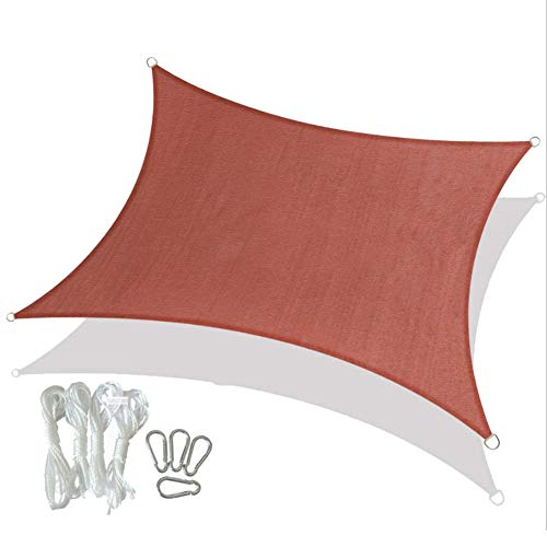 Sonnensegel Sonnenschutz Garten Balkon und Terrasse PES Polyester Wetterschutz Wasserabweisend Imprägniert Schattenspender,Rechteckig, Rot,3 * 3 M