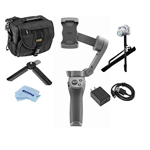 DJI Osmo Mobile 3 - Filmmakers Bundle with 67' Photo Video Monopod, Holster Camera Bag, VC-1 USB-C Cable and Power Adapter, Microfiber Cloth, Ulanzi MT-05 Mini Tripod