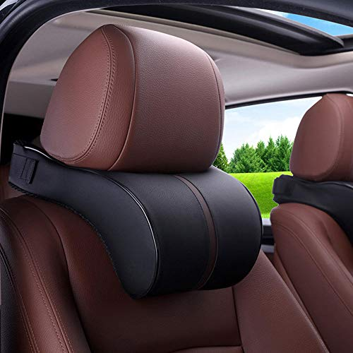 Reposacabezas de coche, reposacabezas de cuero, almohada de espuma viscoelástica para el cuello, reposacabezas duradero y transpirable, reposacabezas de asiento de descanso universal para coche