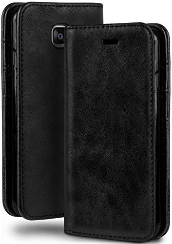 MoEx Booklet in Lederoptik - Kartenfächer und Aufstellfunktion passgenau für Samsung Galaxy Xcover 4 | Eleganter 360 Grad Vollschutz, Schwarz