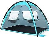 Mantimes Tienda de campaña de playa al aire libre, refugio para 3 – 4 personas, toldo grande, paraguas deportivo, tienda instantánea, para camping, UPF 50 (2-azul claro)