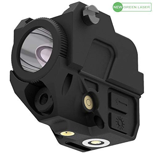 Laspur Tactical Sub Compact Rail Mount Laser Sight with High Lumen Flashlight Light Integrated Combo, Built-in USB Magnetic Touch Rechargeable Battery Accessory (Green)