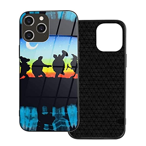 Phone Cover Blue Tie Dye Gra-Te-Ful Dead Tortoise Moon Light Phone Case for iPhone 12/12 mini/12 Pro/12 Pro Max Tempered Glass Back Cover+TPU Case,for iPhone 12 Mini-5.4 Inch