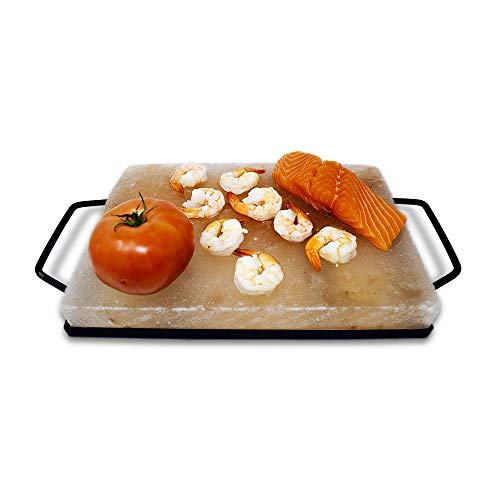 """Himalite Himalayan Pink Salt Block & Metal Tray Set 12"""" x 8"""" x 1.5"""" for Cooking, Grilling, Cutting, and Serving with Himalayan Cooking Accessories"""