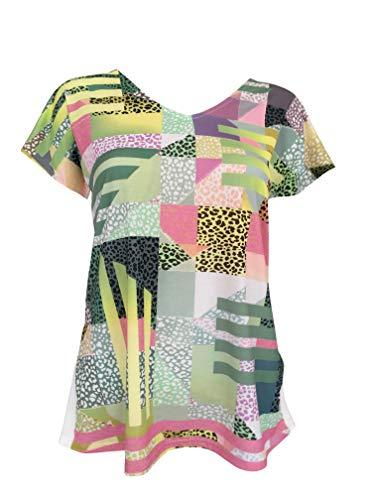 T-Shirt Femme Manches Courtes Col-V Top Haut Vêtement Made in France Grandes Tailles Mode Ete Chic Imprimé Geo (S)