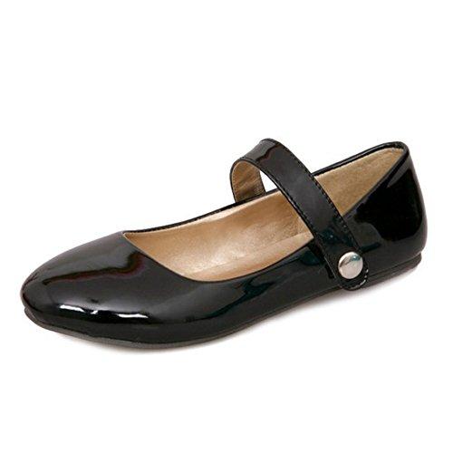 Smilice Damen Gemütlich Ballerinas Runde Zehe Übergrößen Flache Schuhe (Black, 46 EU)