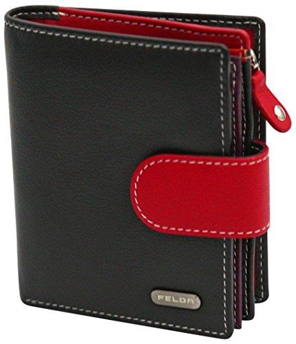 Damen Geldbörse aus Echtleder mit 10 Fächern - RFID-Blocker - Schwarz & Rot, Portmonee Aus Echtleder, Kartenfächer & Münzfach Geldbörse Damen - RFID Geldbörse Für Frauen