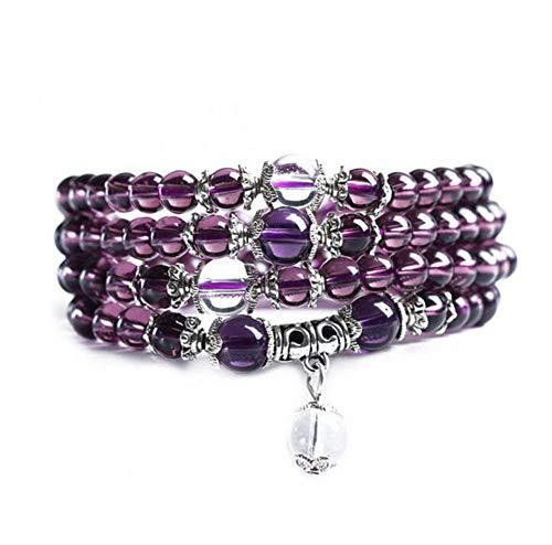 Distinct Purple 6mm Crystal Stone Buddhist 108 Prayer Beads Mala Bracelet Necklace